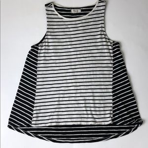 Madewell Black/White Striped forward-seam tank XS